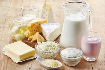 Dairy products including butter, cheese, milk, and cream.