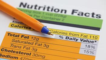 Nutrition label with pen