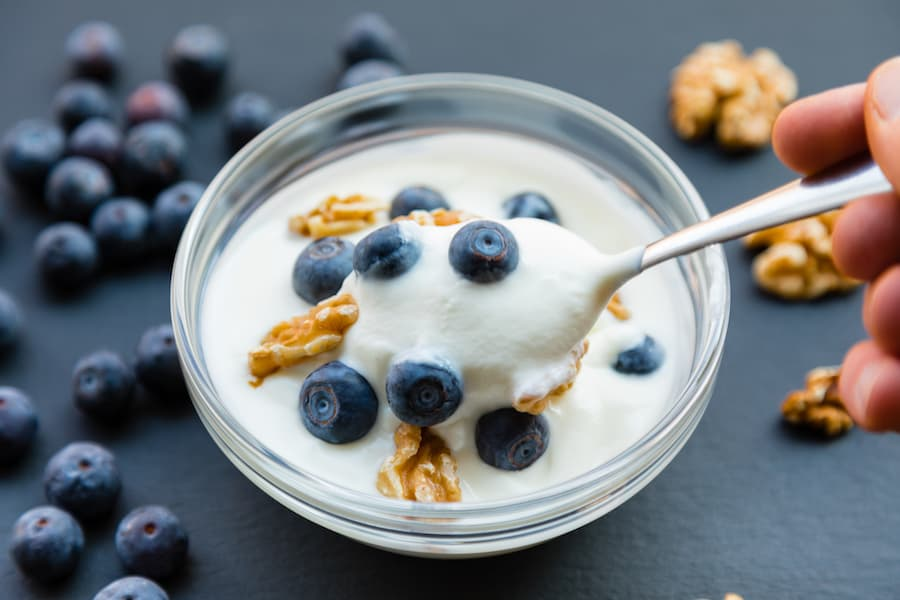 Yogurt with nuts and blueberries