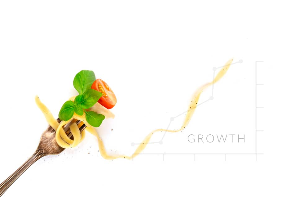 Spaghetti on fork with growth graph