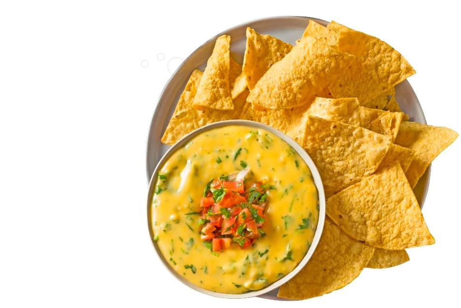 nacho cheese and tortilla chips