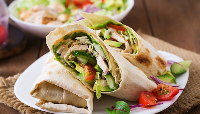 Chicken vegetable wrap from fast casual restuarant